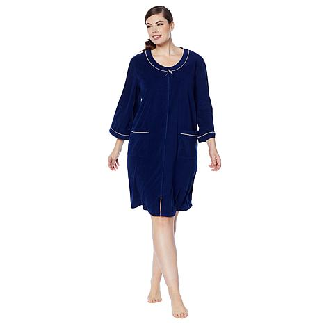 Aria Whisper Soft Solid Terry Zip Robe - 8835295  5c432fa98