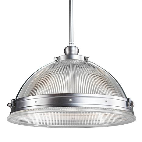 Aristotle Half Globe Pendant Lamp - Satin Chrome