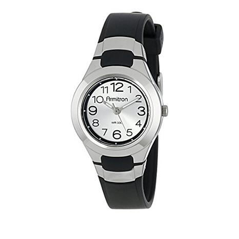 Armitron women 39 s black resin and silvertone dial sport strap watch 8638041 hsn for Black resin ladies watch