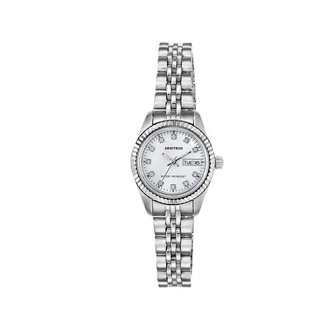 Armitron Women's Silvertone Mother-of-Pearl Dial Watch