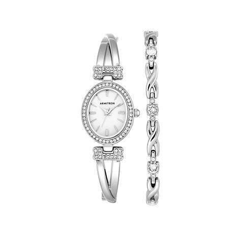 Armitron Women's Silvertone Watch and Bracelet Set