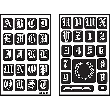Armour 2-pack Glass Stencils - Old English Alphabet