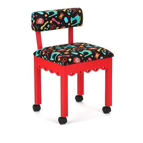 Arrow Sewing Chair with Seat Storage - Red/Black