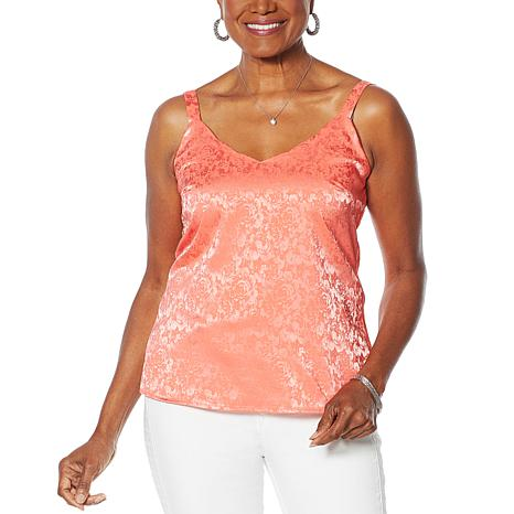 """""""As Is"""" Colleen Lopez Embossed Tank with Scalloped Neckline"""
