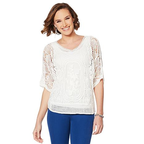 """""""As Is"""" Colleen Lopez Embroidered Crochet Dolman Top"""