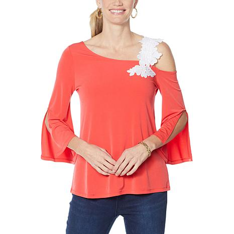 """""""As Is"""" Colleen Lopez One-Shoulder Top with Applique"""