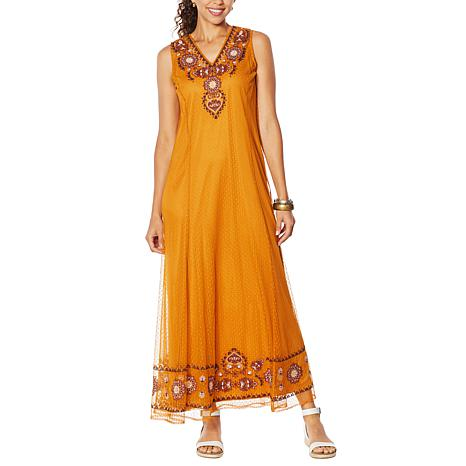 """""""As Is"""" Curations Embroidered Mesh Dress with Slip"""