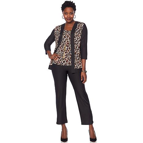 """""""As Is"""" Slinky® Brand 3-piece Printed Jacket and Tank with Solid Pant"""