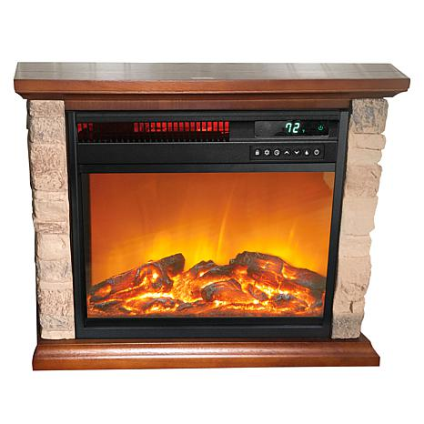 """""""As Is"""" Warm Living Rustic Infrared Fireplace Heater"""