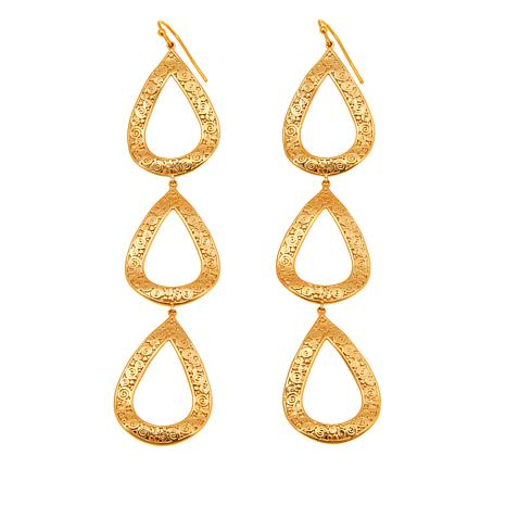Asa Jewelry Goldtone Triple Teardrop Earrings