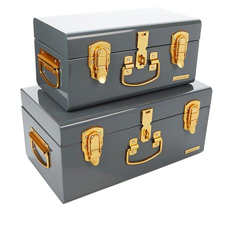 august & leo Set of 2 Sierra Storage Trunks with Matte Gold Fittings