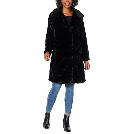 Avec Les Filles Faux Fur Bunny Knee-Length Coat