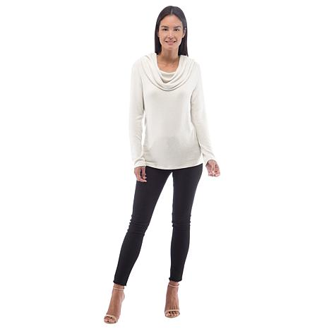 B Collection by Bobeau Brushed Knit Off-Shoulder Cowl-Neck Top