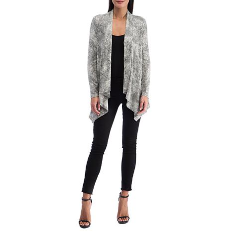 B Collection by Bobeau Brushed Knit Printed Draped Cardigan
