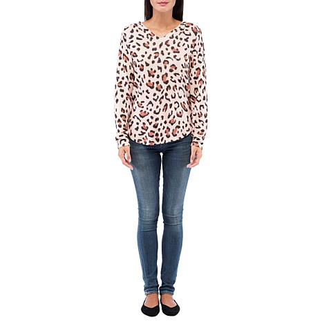 B Collection by Bobeau Leopard-Print Pullover Hoodie