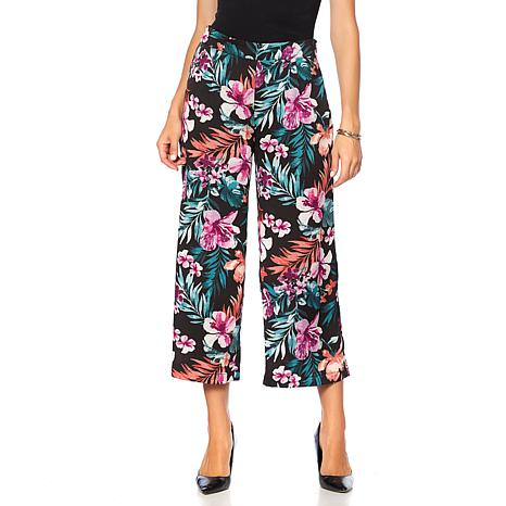 B Collection by Bobeau Printed Cropped Palazzo Pant