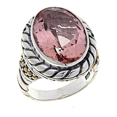 Bali Designs 10.1ctw Pink Morganite Color-Coated Quartz 2-Tone Ring