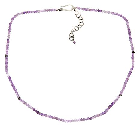 """Bali Designs 18"""" Sterling Silver Amethyst Beaded Necklace"""