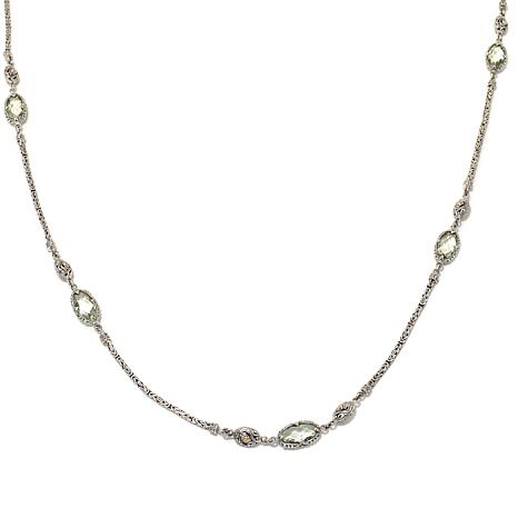 Bali Designs 21.6ctw Green Amethyst Station Necklace