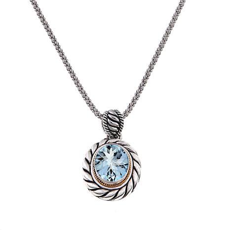 Bali Designs 3.85ct Aquamarine 2-Tone Pendant w/Chain