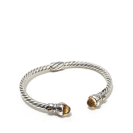 Bali Designs 4.56ctw Citrine 2-Tone Cable Cuff Bracelet