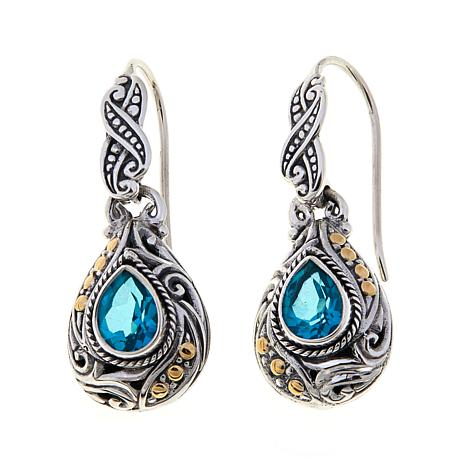Bali Designs 4ctw Paraiba-Color Quartz Pear Earrings