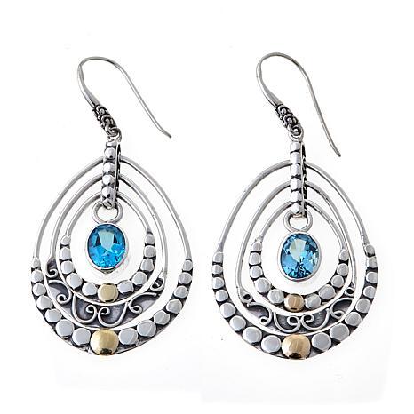 Bali Designs 4ctw Swiss Blue Topaz Chandelier Earrings