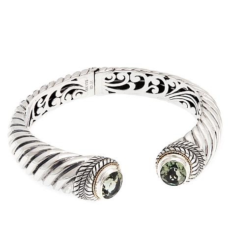 Bali Designs 5.8ctw Prasiolite Cuff with 18K Accents