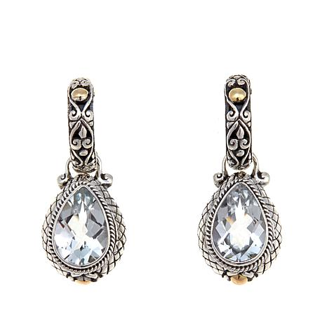 Bali Designs 6.12ctw Pear White Topaz 2-Tone  Earrings