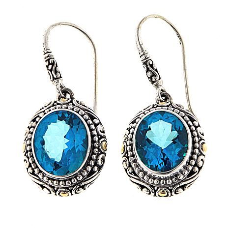 Bali Designs 6.6ctw Paraiba-Color-Coated  Quartz 2-Tone Drop Earrings