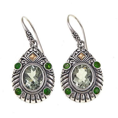 Bali Designs 6.82ctw Prasiolite and Chrome Diopside Pear-Shaped 2-T...