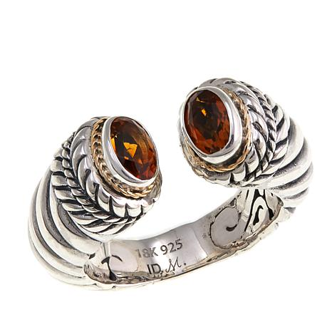 Bali Designs .6ctw Madeira Citrine Cable Cuff Ring