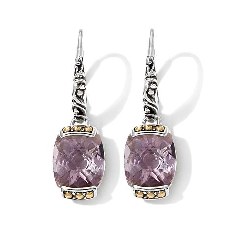 Bali Designs 9ctw Pink Amethyst 2-Tone Drop Earrings