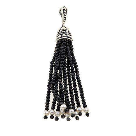 Bali Designs Black Spinel and Freshwater Pearl Tassel Pendant