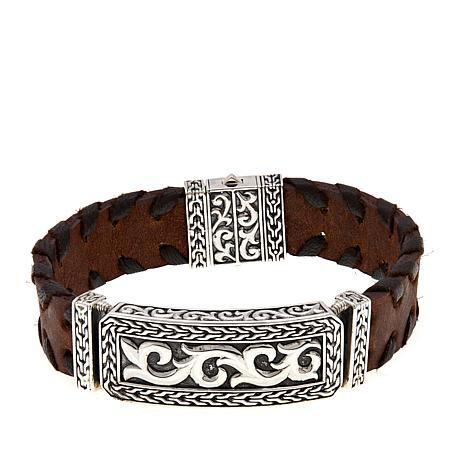 "Bali Designs ""BroManse"" Scrollwork & Brown Leather Bracelet"