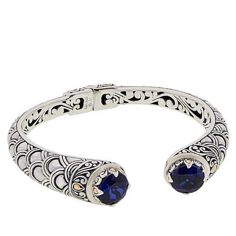 Bali Designs by Robert Manse 2-Tone Created Sapphire Cuff Bracelet