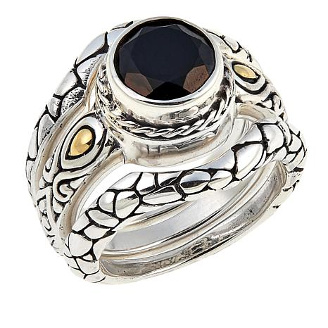 Bali Designs by Robert Manse 2.21ct Black Spinel Cobblestone 3pc Ring