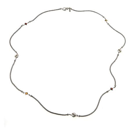 "Bali Designs by Robert Manse Madeira Citrine and Garnet 40"" Necklace"