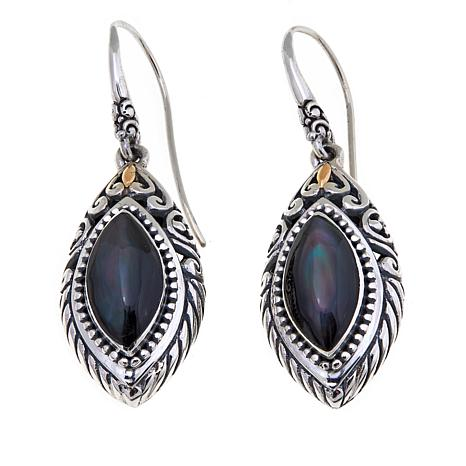 Bali Designs Marquise Peacock Mother-of-Pearl Earrings