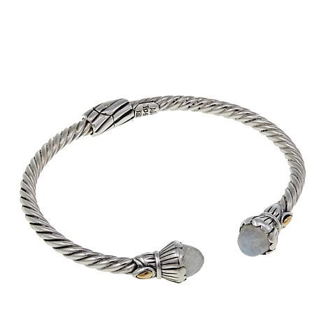 Bali Designs Moonstone Cable Pattern Bangle Bracelet