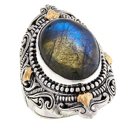 Bali Designs Oval Labradorite Scrollwork Ring