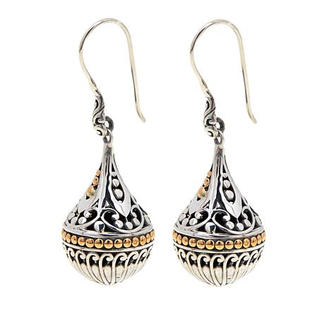 Bali Designs By Robert Manse Scrollwork Orb Sterling Silver Drop Earrings With 18k Gold Accents