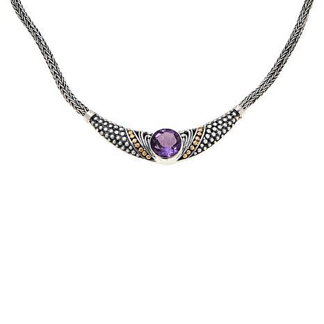 Bali Designs Sterling Silver and 18K Gem Popcorn Pattern Necklace