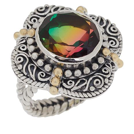 Bali Designs Sterling Silver and 18K Gold Accents Round Quartz Ring
