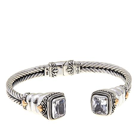 Bali Designs Sterling Silver and 18K Gold Created White Sapphire Cuff