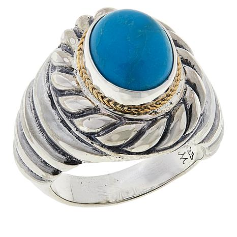 Bali Designs Sterling Silver and 18K Gold Oval Turquoise Cable Ring