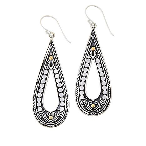 Bali Designs Sterling Silver and 18K Gold Pear-Shaped Drop Earrings