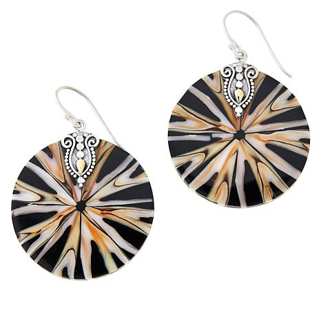 Bali Designs Sterling Silver and 18K Gold Round Spider Shell Earrings