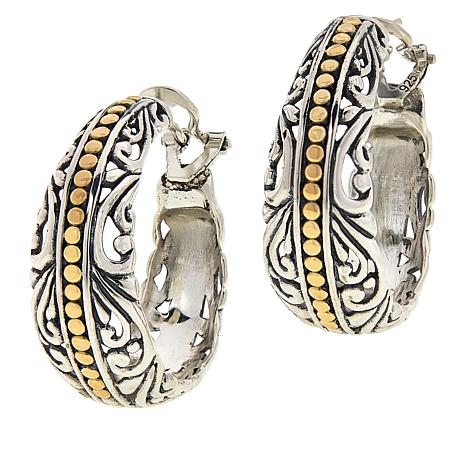Bali Designs Sterling Silver and 18K Gold Scrollwork Hoop Earrings