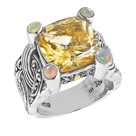 Bali Designs Sterling Silver Citrine and Opal Scrollwork Ring